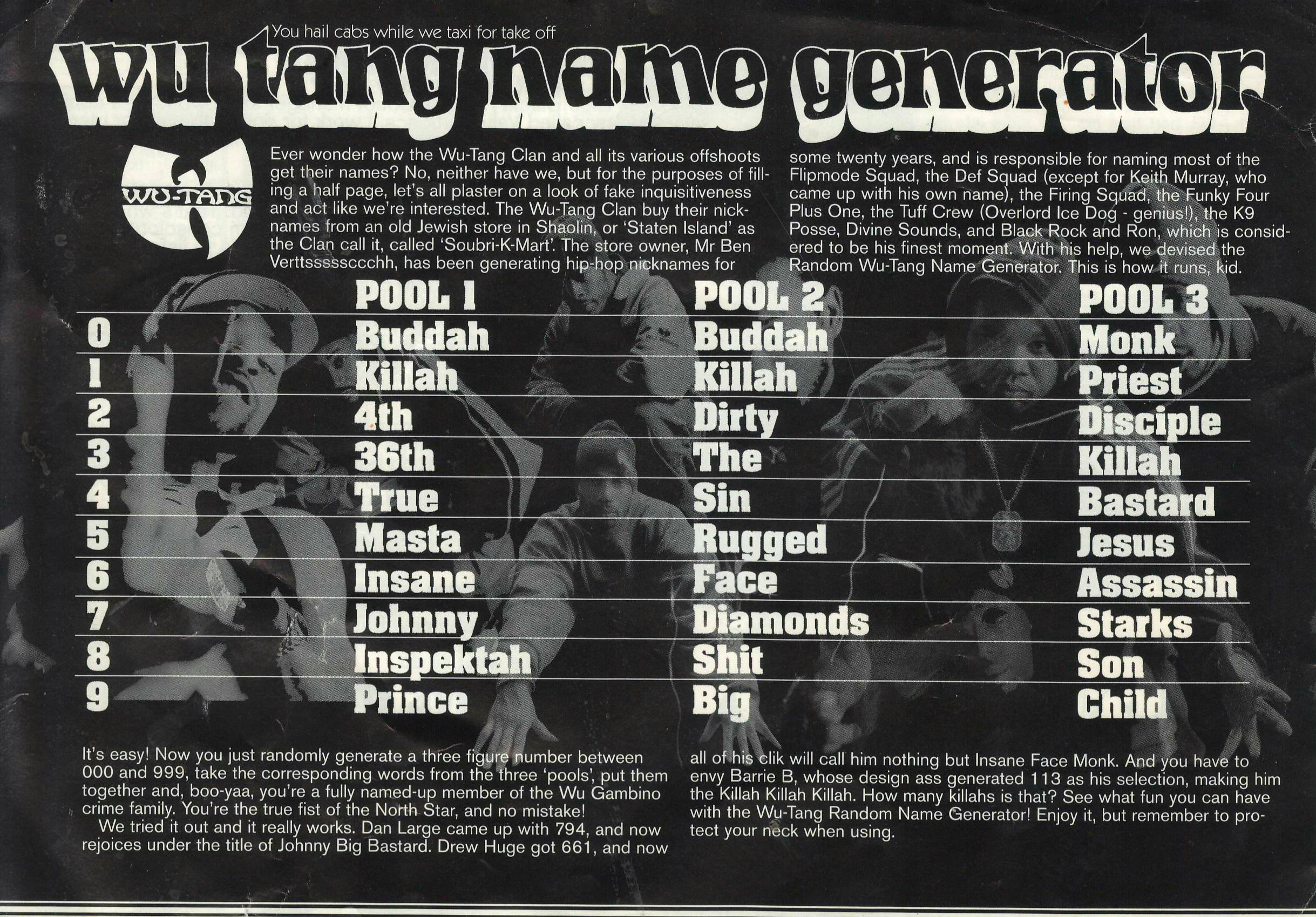 Wu Tang Clan Pinpoint Generator Website